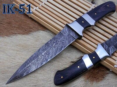 "11"" Damascus steel blade dagger knife/coloured wood handle."