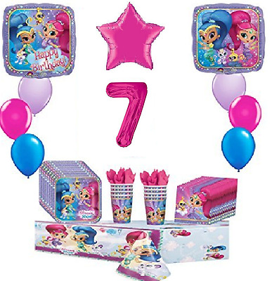 Shimmer and Shine 7th Happy Birthday Party 8 Piece Birthday ultimate Party Pack