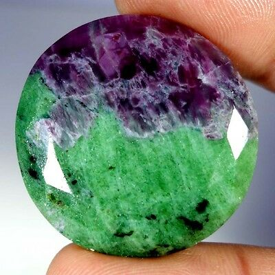 92.30Cts. 100% NATURAL ELEGANT RED GREEN RUBY ZOISITE ROUND CUT RAREST GEMSTONES