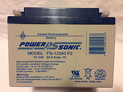 New Genuine Power Sonic PS-12260 F2 Battery 12V 26.0Ah Sealed Lead Acid Lot of 2