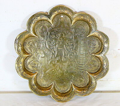 An Antique Indian Brass Hindu Offering Tray With Engraved Deity Figures