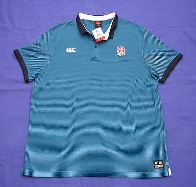 "Canterbury XXXXL 52"" Men's England Rugby Polo Shirt Striped Blue 4XL New"