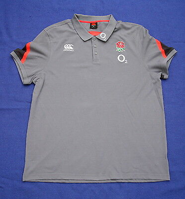 "Canterbury XXXXL 52"" Men's England Rugby Polo Shirt Grey 4XL"