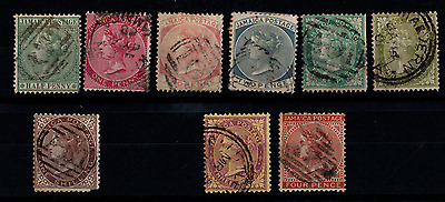 Jamaica - Victoria - fair/mixed used - 9 stamps. incl 4d Brown - Fine used