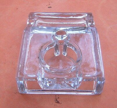 Antique Clear Glass Inkwell/Pen Stand. Made in England.