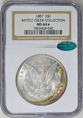 1887 Silver Morgan Dollar - MS-64 NGC Star + CAC Battle Creek Rainbow Color