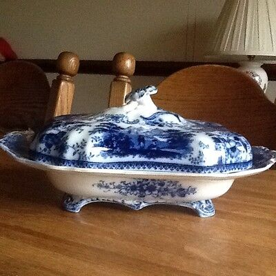 Antique Burgess And Leigh Flow Blue Non Pareil Tureen And Lid Middleport