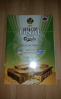 2000/01 Uefa Cup Final Liverpool V Alaves Programme & Pin Badge