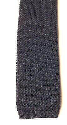 Retro PURE WOOL KNITTED SKINNY NECK TIE by St Michael Dark Blue MOD FREE P&P
