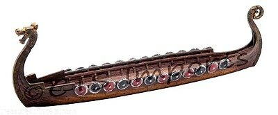 Viking Long ship Boat Replica Model 11 Inches Dragon Head Incense Burner