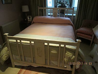 Antique Edwardian Shabby Chic Wooden Double Bed