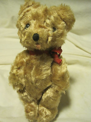 "Vtg 1958 Rare R. Dakin Tannish Mohair Wood Chip Stuff Joint 7"" Teddy Bear-Poland"