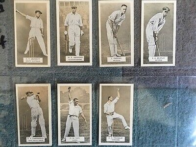 7 Carreras Test Cricketers Arcadia Works Cigarette Cards