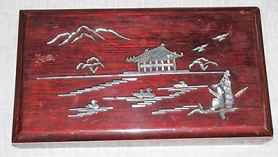 Inlaid Mother of Pearl Chinese Lacquered Box Cigarette Smoking Writing Art ?
