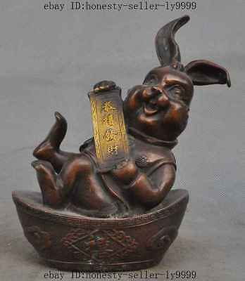 """7"""" old chinese bronze gilt wealth yuanbao money lucky rabbit Hare Bunny statue"""