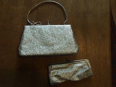 gorgeous vintage silver bag and matching purse 1950's