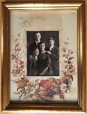 Photograph of an Edwardian Family in original album page mount, framed