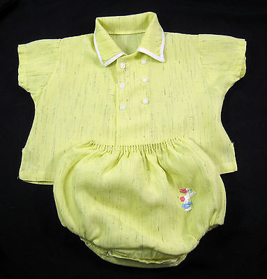 Baby Boy 2 Piece Yellow Playset Romper Child's Vintage 1950's Shirt & Pants