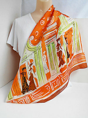 Vintage Fashion Scarf With Victorian Ladies Large Square Orange Lime Green