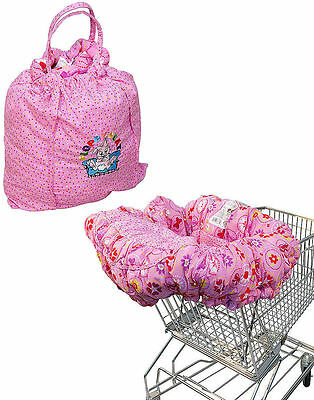 Floppy Seat Pink Floral Shopping Cart High Chair Cover w Safety Straps Clean!