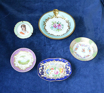 Antique Porcelain Pin Dishes / Plates Spode Limouges etc Set of Five Assorted