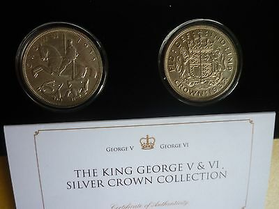 Gt Britain -Cased George V & George Vi Silver 1935 & 1937 Crown Collection +Coa