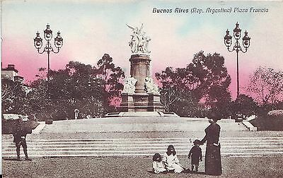 Argentina Buenos Aires - Plaza Francia old unused tinted postcard