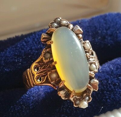 Antique Victorian 14K Rose Gold Moonstone & Seed Pearl Ornate Ring Size 8