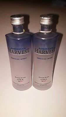 Pair of Hard to Find American Harvest Vodka 50 ml glass bottles crafting collect