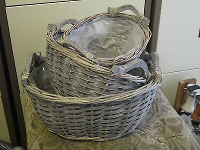 NEW 3 oval willow baskets, 23/28/35cm with handles