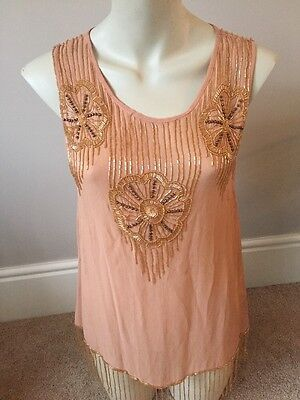 VINTAGE 1930s THE GREAT GATESBY TOP NUDE BEADED TASSLE STYLE MISS SELFRIDGE 10