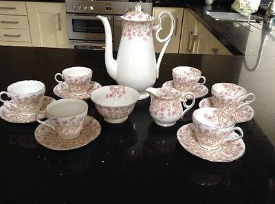 Vintage Shelley Pink / White Hedgerow Teaset - 15 Items