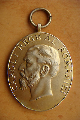 Romania 1906 King Carol I 40 years of reign bronze top medal 1866 - 1906
