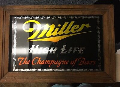 Miller High Life The Champagne Of Beers Mirror Bar Sign Framed Vintage. Rare