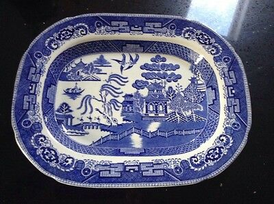 """Wedgewood Blue & White Willow Pattern Oblong Meat Plate  14"""" X 11"""""""
