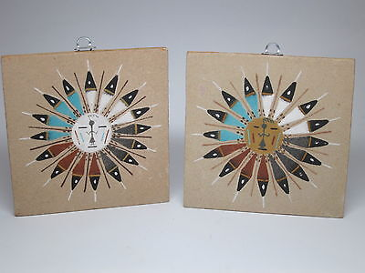 Lot of 2 Ernest Hunt Navajo Sand Painting Mandala Signed 1988 Sun Wind Feather