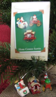 Hallmark 2003 Miniature Ornaments Set Of 3~Here Comes Santa