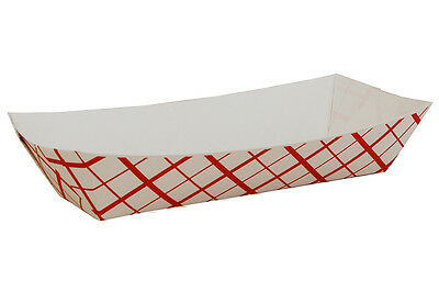 50 Red Check Hot Dog Tray Party Catering Disposable Trays Checkered Basket