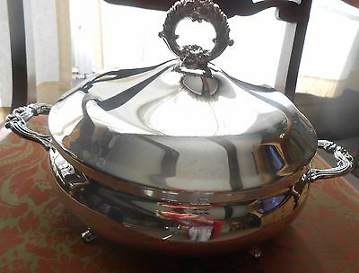 """Vintage English Silver Mfg Covered Cassorole/soup 9 & 1/4"""" Dish"""