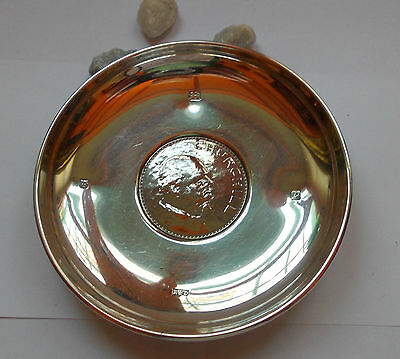 Hallmarked Solid silver pin dish featuring Winston Churchill coin good condition