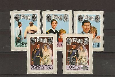 Tonga:1981:Royal Wedding,Set + Cyclone Relief Opt.MNH.