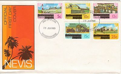 Nevis:1980:Overprinted Definitives to 50c on 2 FDC's.MNH.(L)