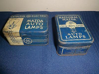 TWO Antique MAZDA General Electric Automobile Lamp Kits Original Tins - COMPLETE