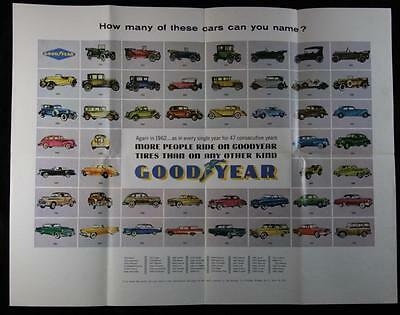Vintage 1962 Good Year Tires Automobile Car Poster 17 x 22