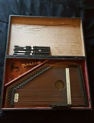 Vintage C.F. Zimmerman Autoharp Pat. 1882 with case, tuning key and more