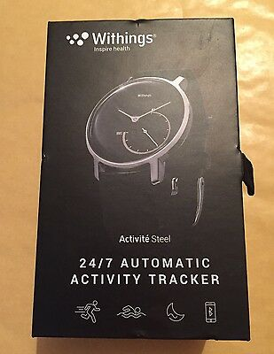 Withings Activite Steel 24/7 Automatic Activity Tracker Watch - black New Unused