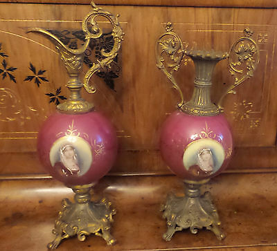 Two Antique Victorian Ormolu Ewers Burgandy Portrait Porcelain With Pink Roses