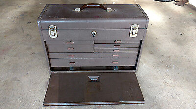 Vintage Kennedy Kits Machinist Tool Box Chest All Metal Industrial 7 Drawer KEY