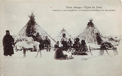 Russia Lapps Самоеды Лопари People Homes and Deers pre WWI postcard