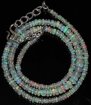 """37 Ctw 1Necklace 2to5mm 16"""" Beads Natural Genuine Ethiopian Welo Fire Opal 866"""